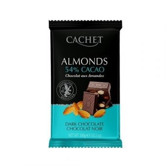 Чёрный шоколад Cachet Миндаль 300 г